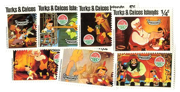 1980 Disney Celebrates Christmas with Pinocchio, Mint, Set of 7 Stamps, Turks and Caicos