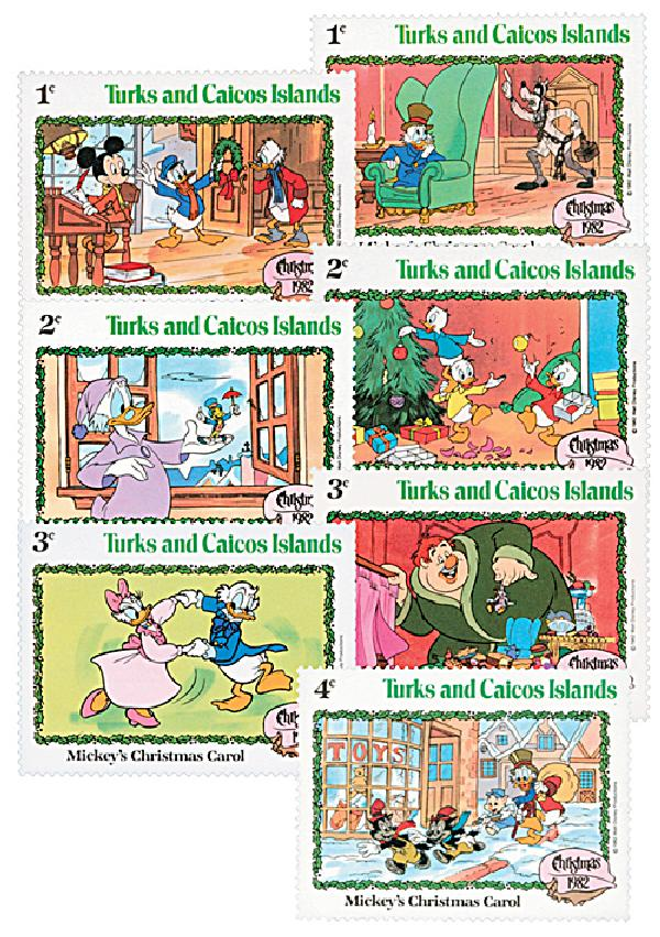 1982 Disney Celebrates Christmas with Mickeys Christmas Carol, Mint, Set of 7 Stamps, Turks and Caicos