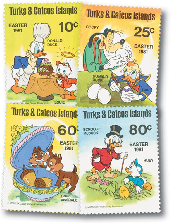 Turks & Caicos 1981 Easter Eggs 4 Stamps