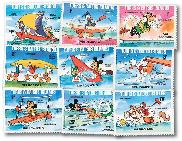 Turks & Caicos L.A. Olympics, 9 Stamps