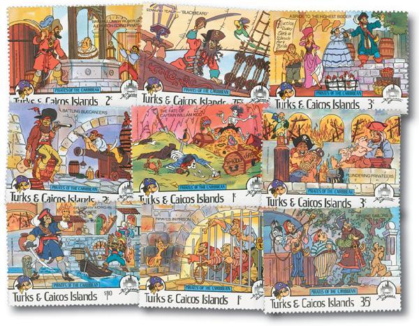 Turks & Caicos 1985 Pirates, 9 Stamps