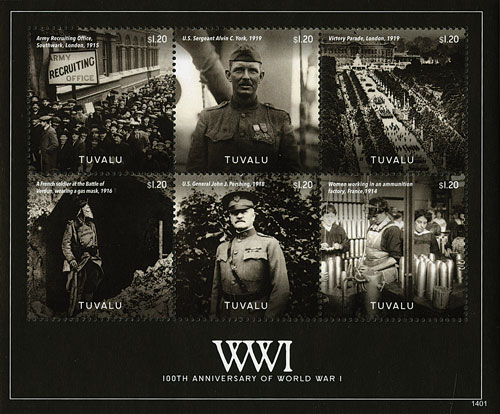 2014 $1.20 World War I 100th Anniversary, Mint, Sheet of 6 Stamps, Tuvalu