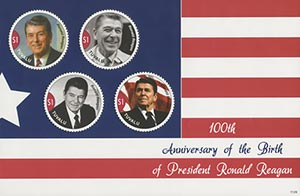 2011 $1 Ronald Reagan - 100th Birth Anniversary, Mint, Sheet of 4 Stamps, Tuvalu