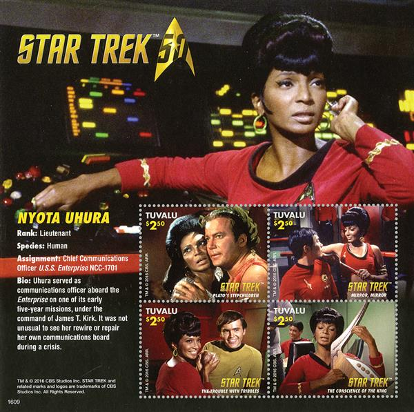 2016 $2.50 Nyota Uhura - Star Trek 50th Anniversary sheet of 4