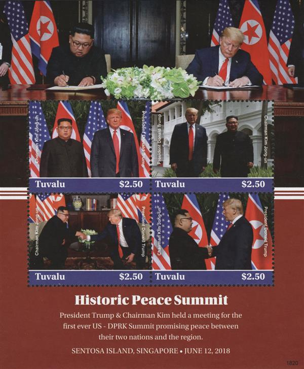 2018 $2.50 President Trump and Chairman Kim, Historic Peace Summit sheet of 4