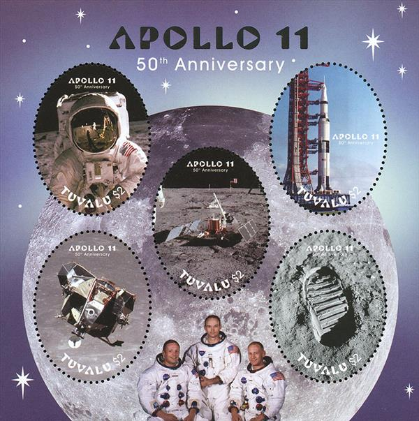 2018 $2 Apollo 11 50th Anniversary sheet of 5