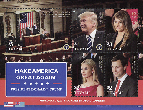 2018 President Trump - Make America Great Again! sheet of 5 stamps