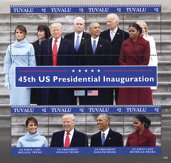 2018 45th US Presidential Inauguration, sheet of 8 stamps