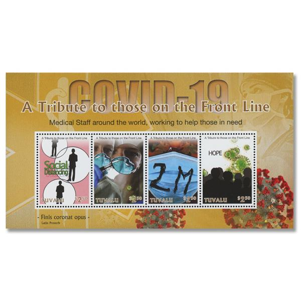 2020 $2.50 COVID-19: A Tribute to Front Line Workers, Mint Sheet of 4 Stamps, Tuvalu