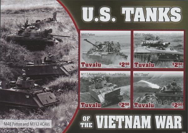 2020 $2.50 Vietnam War - U.S. Tanks of The Vietnam War, Mint Sheet, Tuvalu