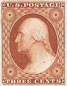 1851-57 3c George Washington, orange-brown, imperforate, type I