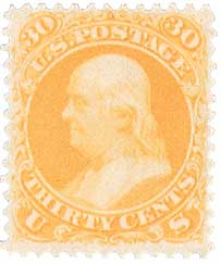 1867 30¢ Benjamin Franklin, orange
