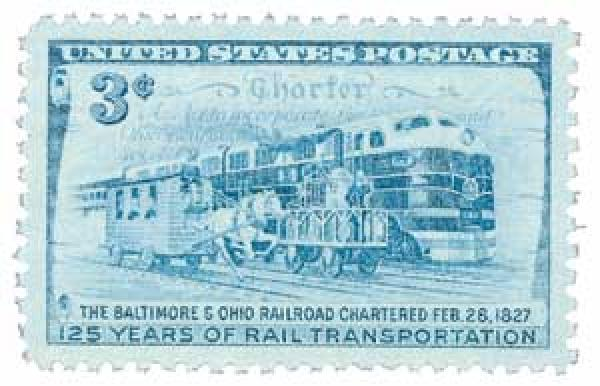 US #1006 was issued for the 125th anniversary of the B&O Railroad charter.  It pictures the Tom Thumb race as well as a streamlined diesel train.