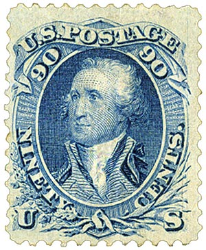 1867 90¢ George Washington, F-Grill, blue