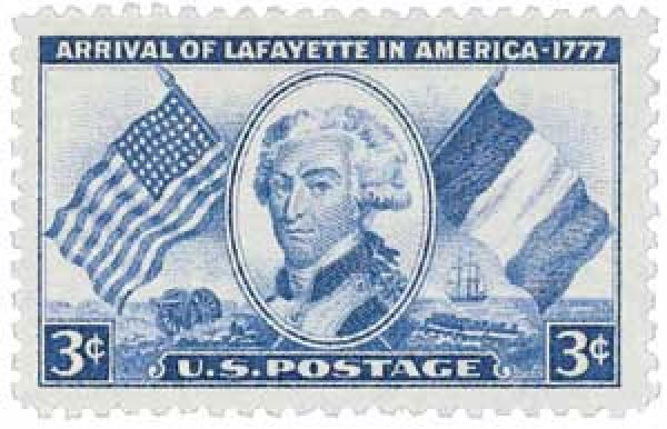 U.S. #1010 commemorates the 175th anniversary of the arrival of Marquis de Lafayette in America.