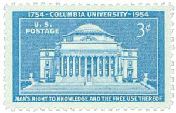 U.S. #1029 was issued for the 200th anniversary of Columbia University.