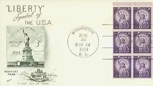 1954-68 3c Liberty, bklt pane of 6