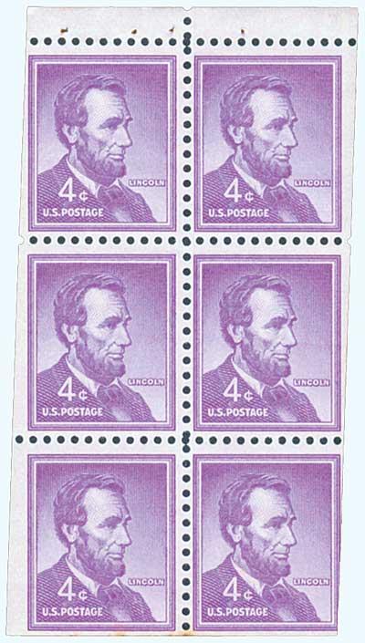 1954-61 4c Abraham Lincoln,bklt pane (6)