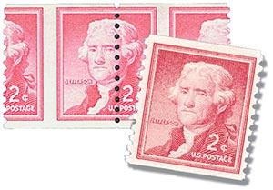1957 Liberty Series Coil Stamps - 2¢ Thomas Jefferson misprf & normal
