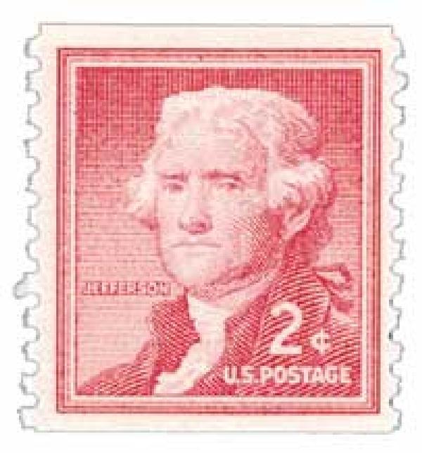 1954 Liberty Series Coil Stamps - 2¢ Thomas Jefferson