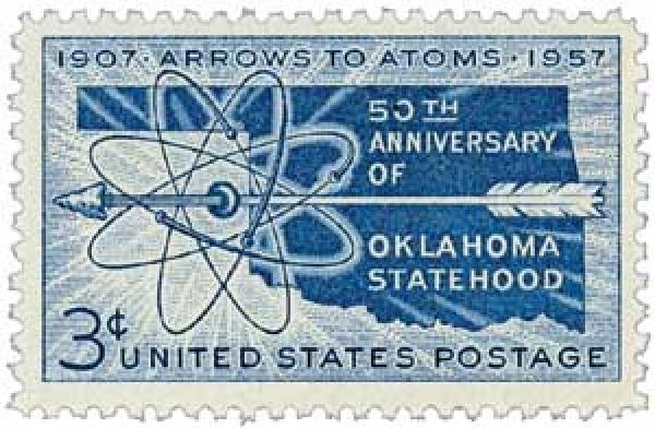 "U.S. #1092 – ""Arrows to Atoms"" reflects Oklahoma's evolution from the frontier days to the atomic age."