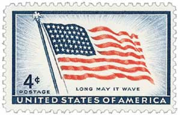 1957 4¢ Old Glory, 48 stars