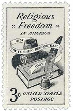 "U.S. #1099 was issued to honor the 300th anniversary of the ""Flushing Remonstrance."""
