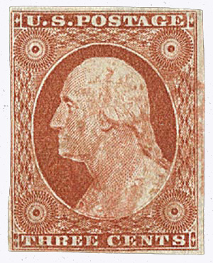 1851-57 3c Washington, orange-brown, imperforate, type II