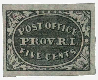 1846 5¢ Postmaster Provisional, gray-black