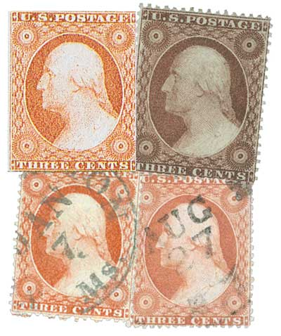 1855-57 3c Washington Look-Alikes 4v