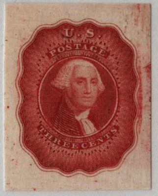 3¢ Washington Essay Die on India, by Danforth, Bald & Co, Philadelphia, PA