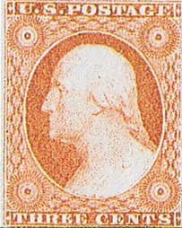 1855 3¢ George Washington, dull red, type I, imperf
