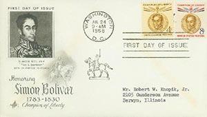 1957 4c, 8c Bolivar FDC