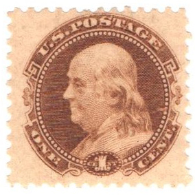 1c Plate on stamp paper, perf 12, gummed