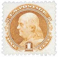 1869 1c Benjamin Franklin, buff, G grill, hard wove paper, perf 12