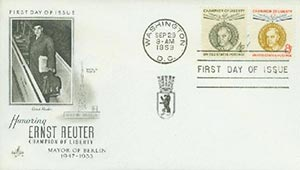 1959 4/8c Reuter Combo FDC