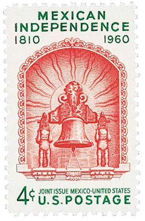 US #1157 was a joint-issue with Mexico honoring its independence from Spain.