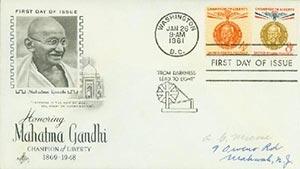 1961 4c, 8c Mahatma Gandhi FDC