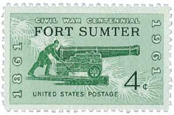 1961 4c Civil War Centennial: Firing on Fort Sumter