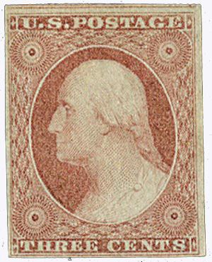 1853-55 3c dull red, T2, imperf