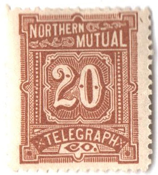 1883 20c yel brn,perf 14,'North. N.Y.'