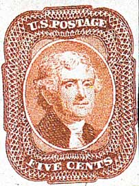 1856 5c Jefferson, red brown, type I, imperforate