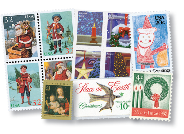 2019 Christmas Stamps.Christmas Stamps Through The Decades 1962 2016 12 Stamps