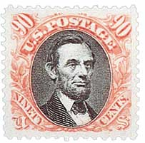 1869 90c Lincoln, carmine and black