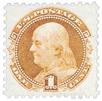 1875 1c Franklin, buff