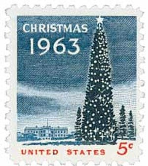 1963 5c Christmas Tree & White House
