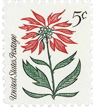 1964 Christmas Poinsettia 5c