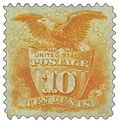 1875 10c Shield and Eagle, yellow