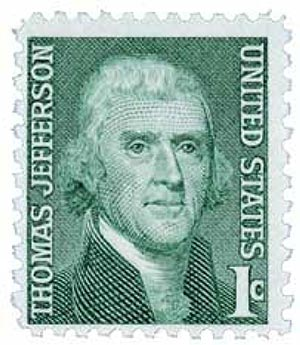 1968 1c Prominent Americans: Thomas Jefferson