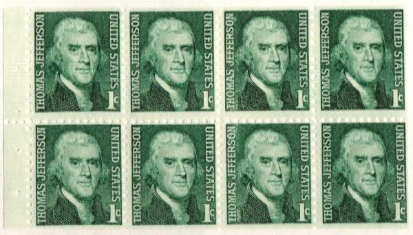 1960 1c Thomas Jefferson,bklt pane of 8
